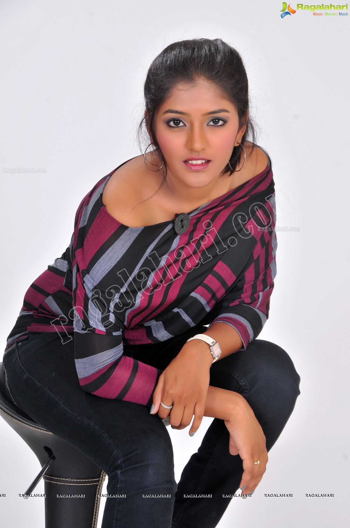Eesha Rebba in Off Shoulder T-Shirt and Black Jeans Exclusive Photo Shoot