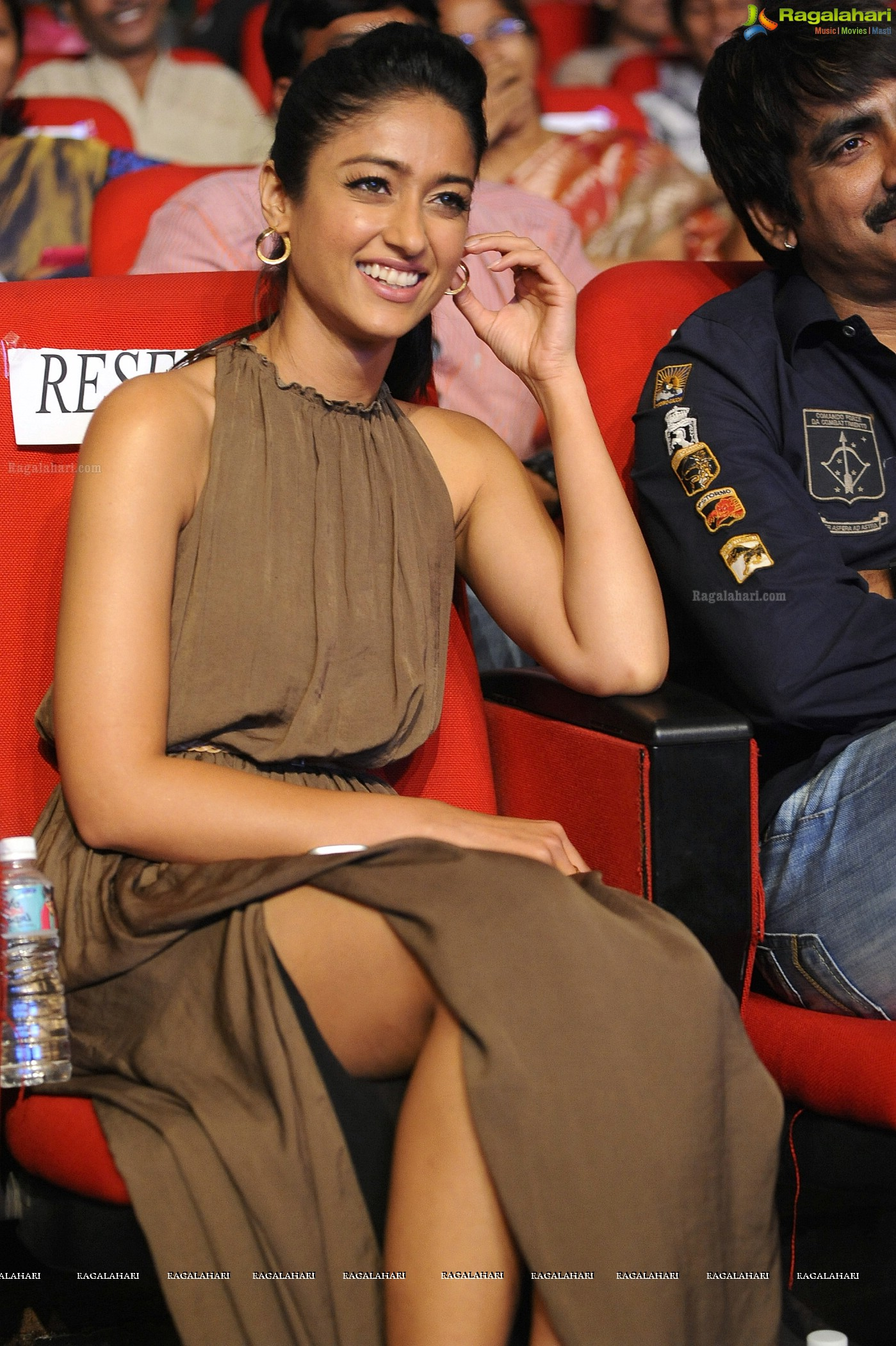Ileana in Sleeveless Dress at Devudu Chesina Manushulu Audio Release Function