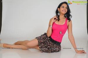 Rakul Preet Singh in Sleeveless Pink T Shirt and Skirt