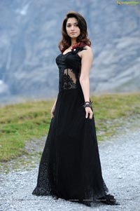 Tamanna in Black Sleeveless Floor Length Skirt