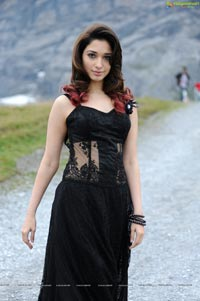 Tamanna in Black Sleeveless Floor Length Skirt