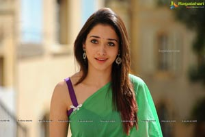 Hot Tamanna in Sleeveless Blouse and Transparent Green Saree
