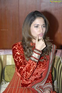 Tamanna in Red Long Sleeve Dress