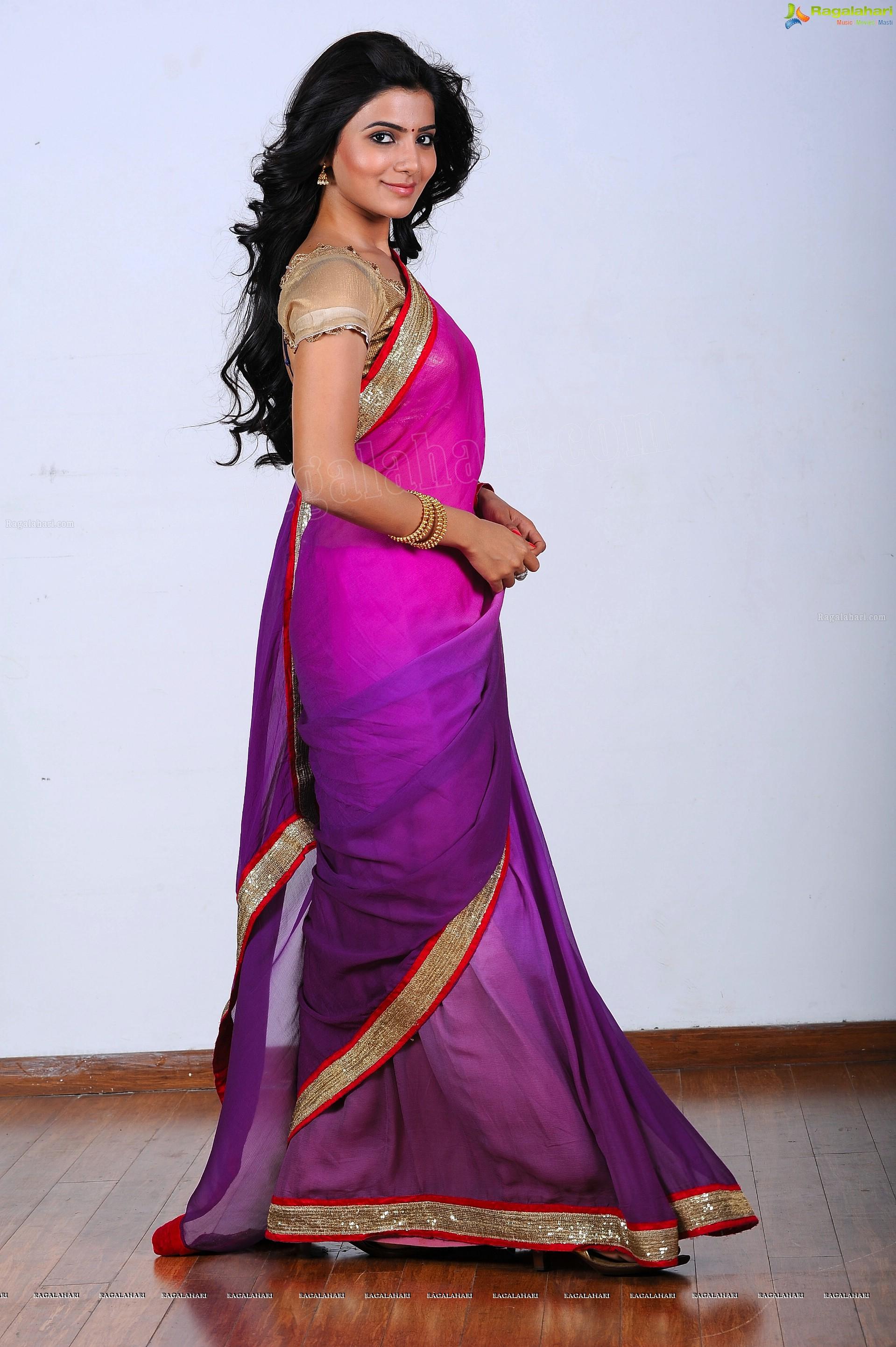 Samantha in Pink Saree - HD Gallery