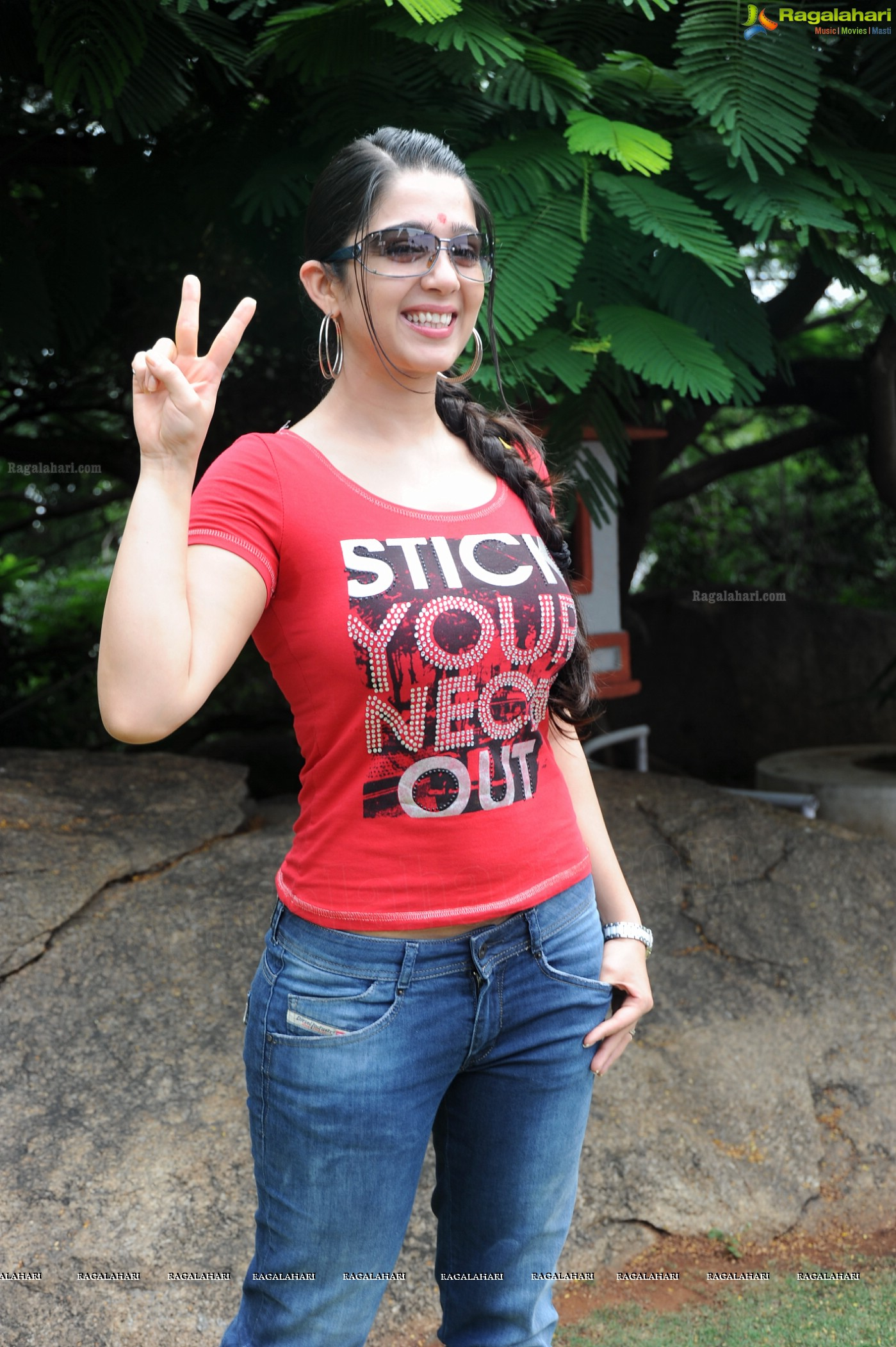 Charmi posing in 'Stick Your Neck Out' T-Shirt, Exclusive Photos